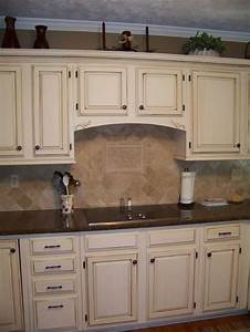 cream colored kitchen cabinets with white appliances ...