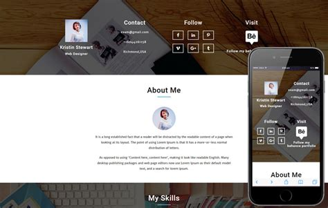 Bootstrap Template Curriculum Vitae Free by Vision A Personal Portfolio Flat Bootstrap Responsive Web