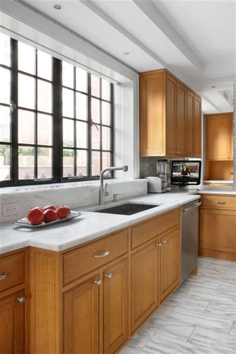 kitchen  cerused oak cabinetry   recycled aluminum backplash