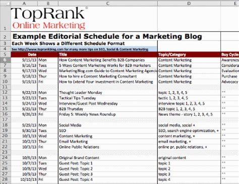 Blogs Exle An Editorial Calendar For Your Tips And Templates