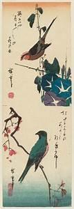 Utagawa Hiroshige: Bird and Morning Glories (top), Bird on ...