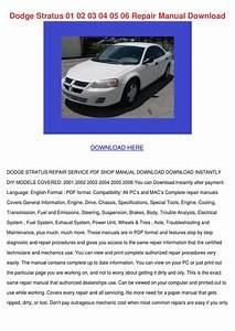 Dodge Stratus 01 02 03 04 05 06 Repair Manual By Danibliss