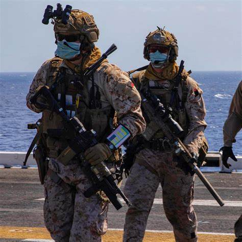 U.S. Force Recon Marines assigned to a Maritime Raid Force aboard USS Bataan (LHD 5) [1080 x ...