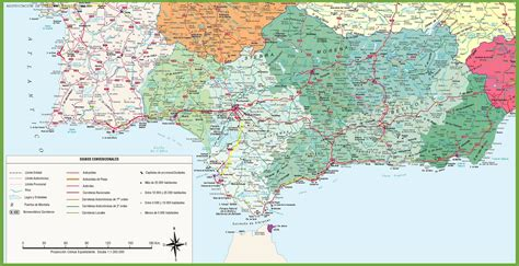 large detailed map  andalusia  cities  towns