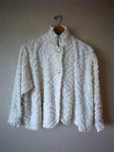 chenille bed jacket house jacket ivory vintage
