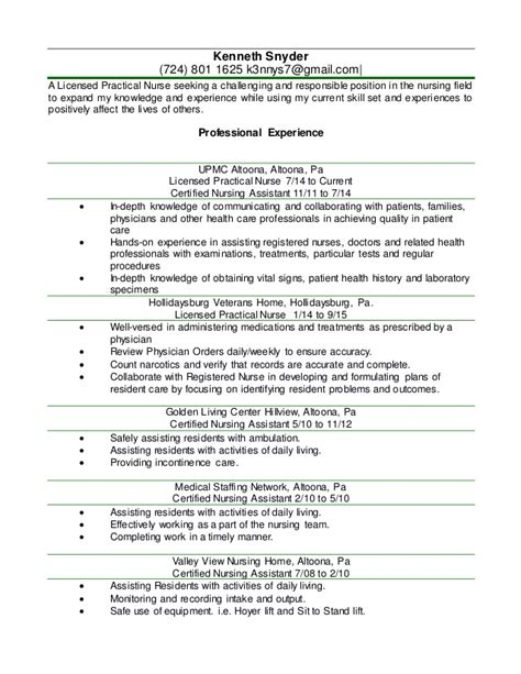 Nursing Home Resume Skills by Kenny Lpn Resume 2016 Word Document