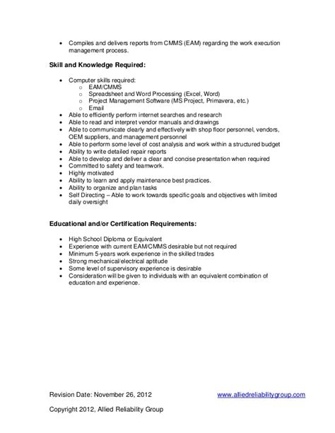 Maintenance Planner Resume Exles by Maintenance Planner Description