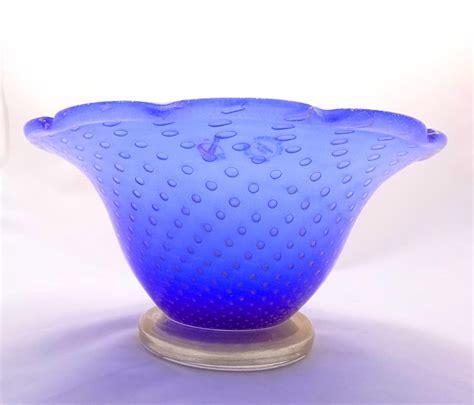 bowl vase blue and gold bowl vase murano glass murano glass