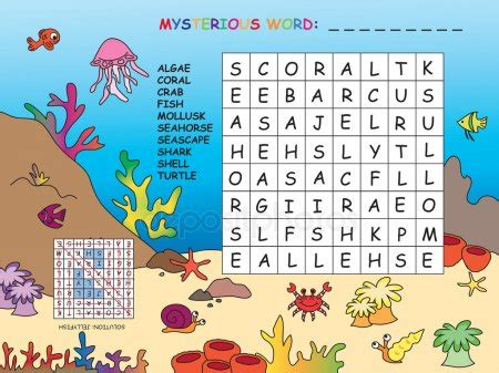 underwater world word search puzzle stock vector