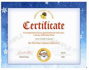santa nice list certificates printable santa39s nice list With santa letter and certificate