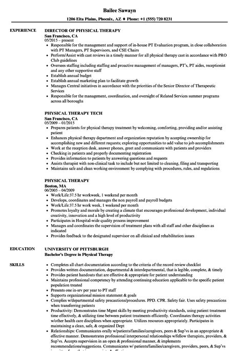 Physical Therapist Resume Sle by Physical Therapy Resume 9 Payroll Check Stubs