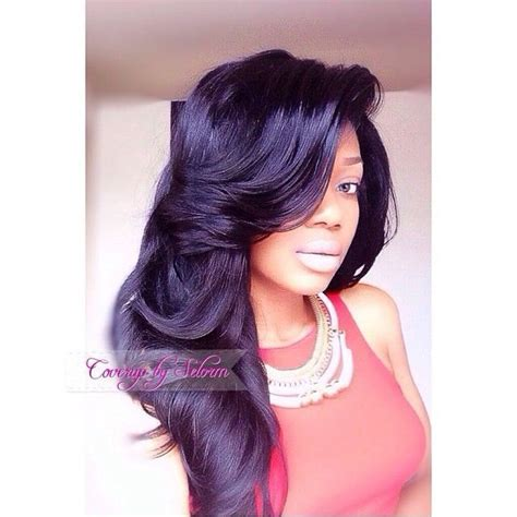 sew ins hair styles with bangs flawless side part sew in w bumped hair work 2 3703