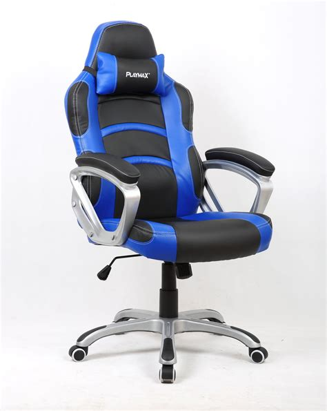 playmax gaming chair blue and black in stock buy now