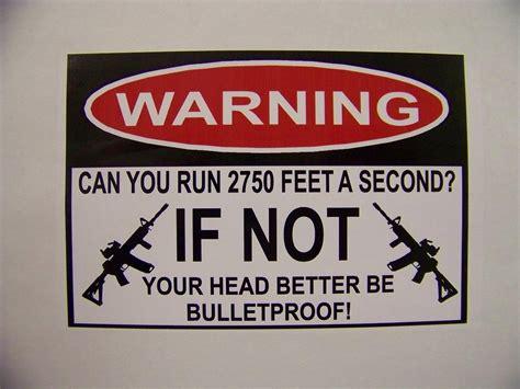run warning decal bumper sticker funny ebay