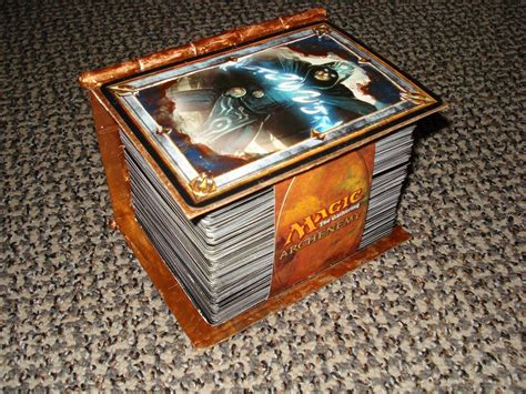 mtg custom wood deck boxes custom spell book deck box version 2 artwork