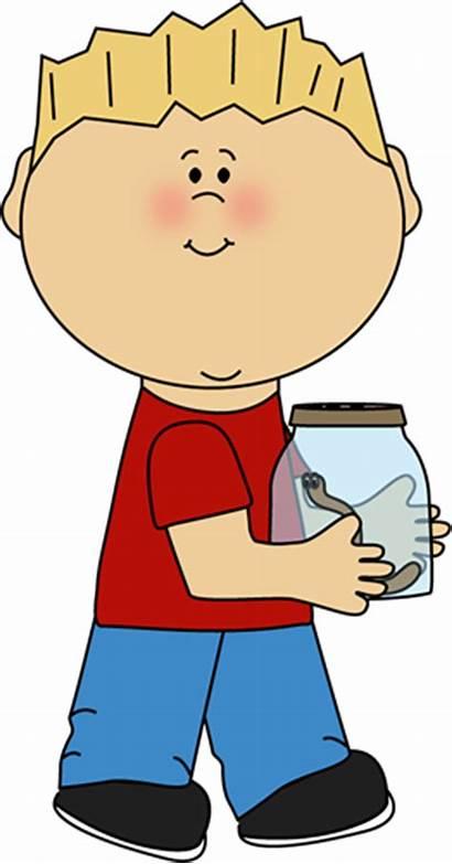 Boy Jar Carrying Worm Clipart Clip Kid