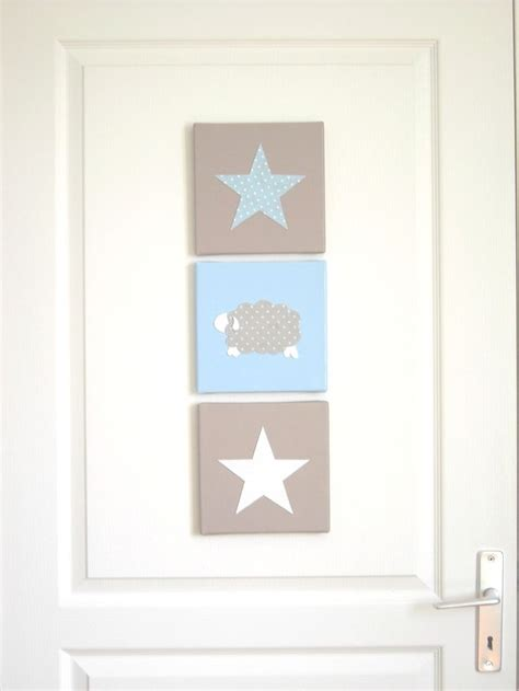tableau chambre bebe tableau triptyque pour chambre d 39 enfant mouton étoiles