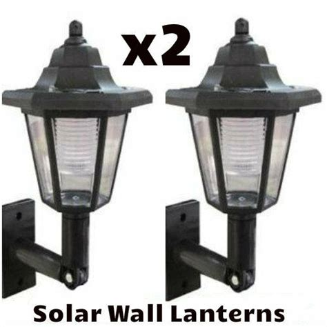x2 led solar power wall lantern l sun lights black