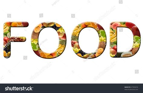 word for cuisine word food made fruit texture stock photo 47393416