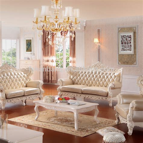 Luxury European French Baroque Rococo Classical Style Living Room Carved Wooden Leather Corner
