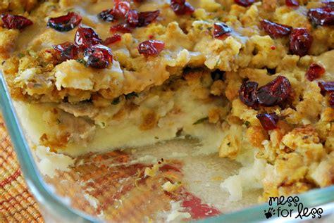 recipe for thanksgiving thanksgiving dinner casserole mess for less