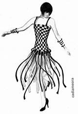 Flapper Drawing Charleston 1920s Flappers Erte Getdrawings sketch template