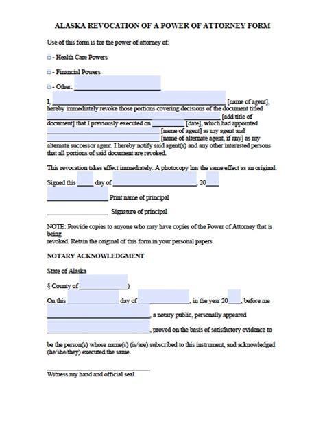 alaska revocation power of attorney form power of