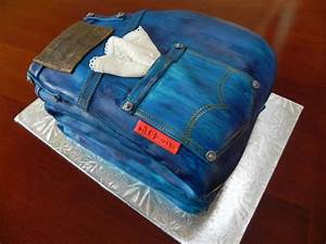 Denim and Lace - Denim and Lace cake done for a dessert auction. Covered in fondant airbrushed ...