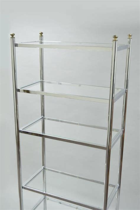 Brass And Glass Etagere by Mid Century Modern Polished Chrome Brass And Glass Six
