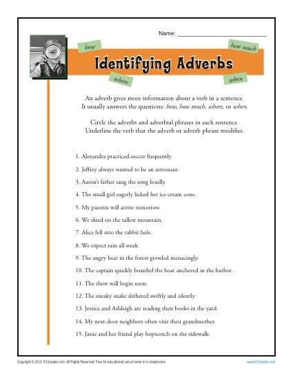 adverb worksheets 5th grade kidz activities
