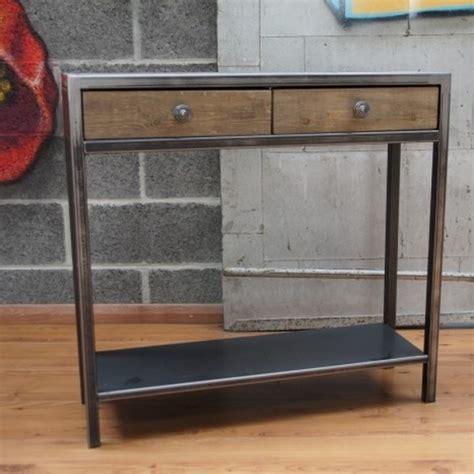 table console pour cuisine console tiroirs bois et métal mobilier design