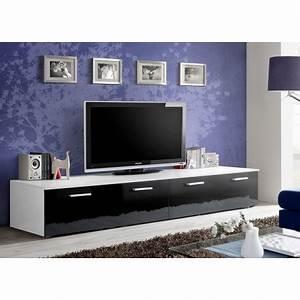 Meuble Tv Long : meuble tv bas long blanc et noir laqu marty 1 cbc meubles ~ Teatrodelosmanantiales.com Idées de Décoration