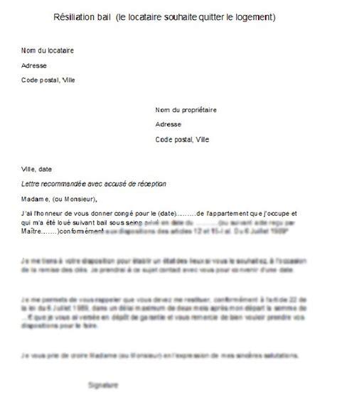 modele de lettre de préavis 1 mois exemple lettre resiliation bail 1 mois preavis document
