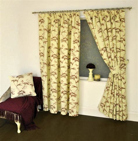 botanical printed 3 quot pencil pleat lined curtains or
