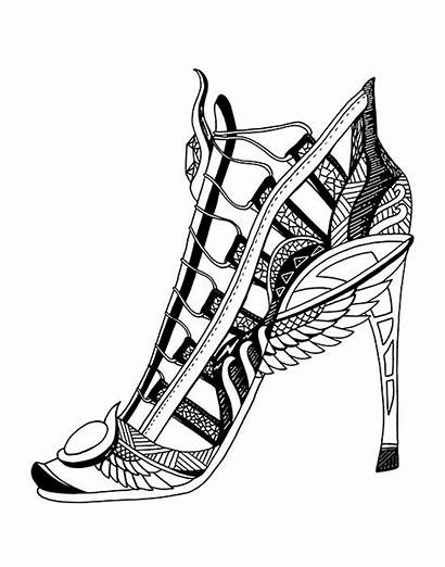 Coloring Shoes Colouring Heel Heels Pages Drawing