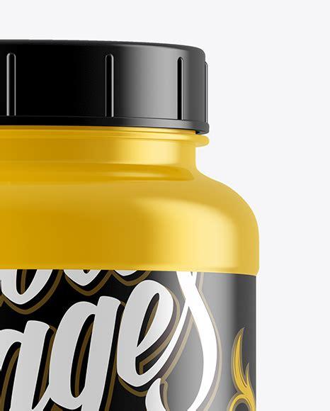Universal cosmetic glass jar mockup designed in high resolution. Glossy Plastic Protein Jar Mockup in Jar Mockups on Yellow ...