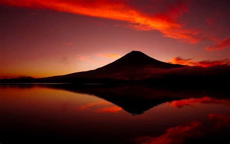 mount fuji volcano japan mountains lake reflections