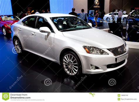 lexus coupe white white car lexus is 250 f sport editorial stock image