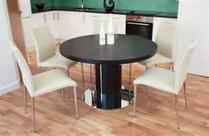 badezimmer antik esstisch rund ausziehbar schwarz lackiert aus eiche holz mit 5 stühle leder beige für elegante