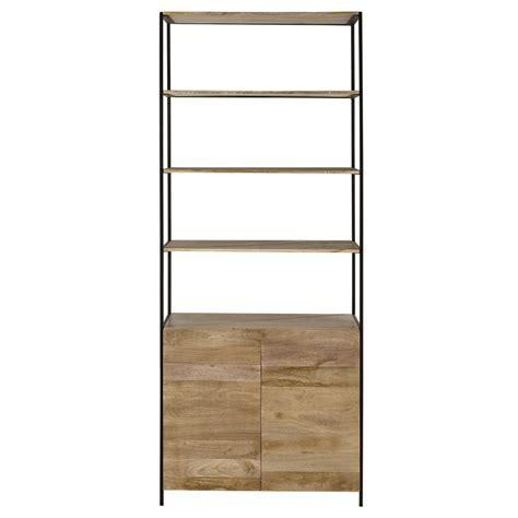 brass bedside mango wood and black metal bookcase l 85cm wilson