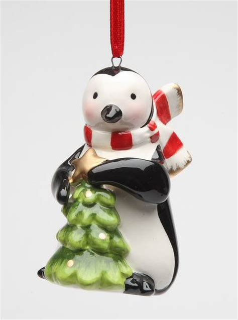 penguin with green christmas tree christmas tree ornaments