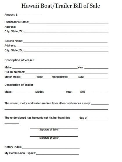Blank Bill Of Sale For Boat And Trailer by 4 Boat Bill Of Sale Form Templates Formats Exles In