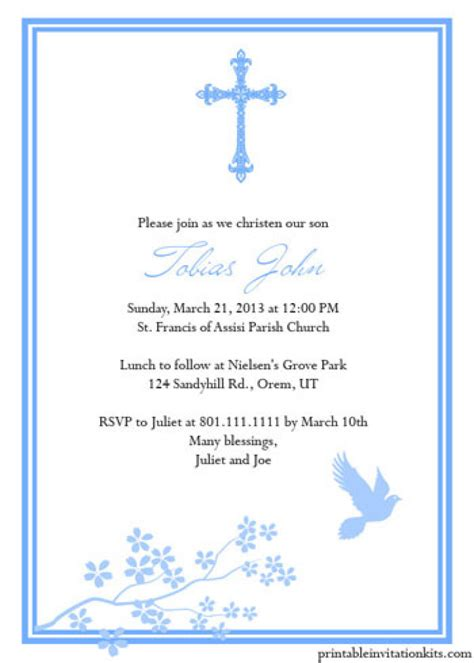 baptism card template free printable baptism invitations templates