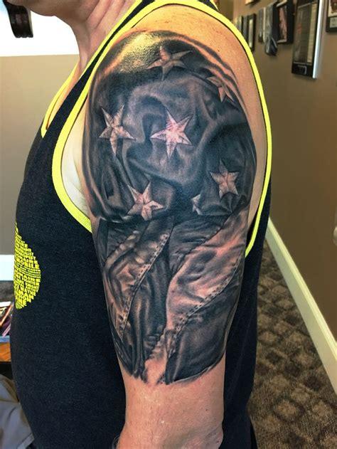 black  gray grey realistic american flag tattoo