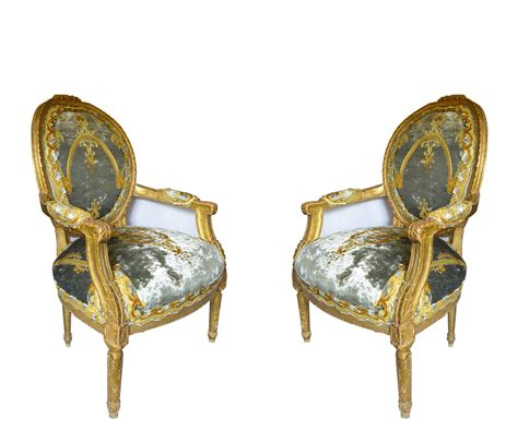 Pair Of Louis Xvi Style Carved Gilt Armchairs