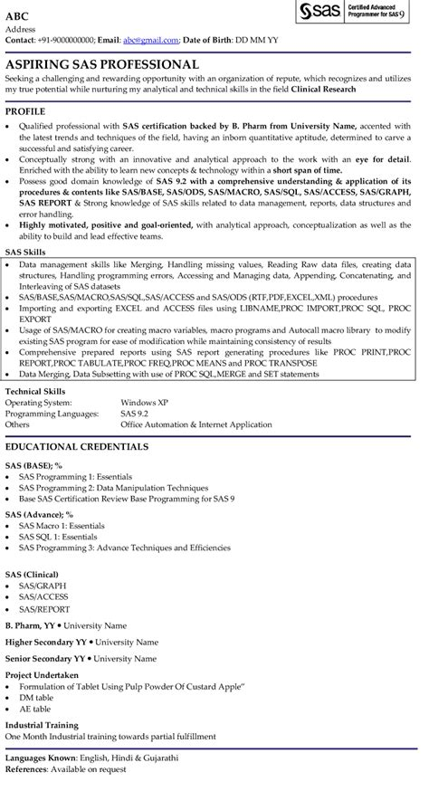 Sas Resume Template by Sas Professional Professional Resume Sles