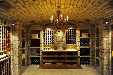glass enclosed stone  wood wine cellar  high reveal