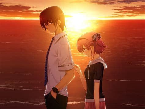boy girl sad sunset sea  anime hd wallpaper preview