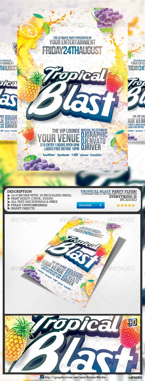 billboard blast template tropical blast party flyer graphicriver tropical blast