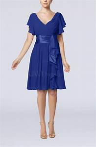 electric blue romantic short sleeve zip up knee length With wedding guest dresses with sleeves